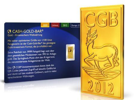 Mini Goldbarren Cash Gold Bar im Blister